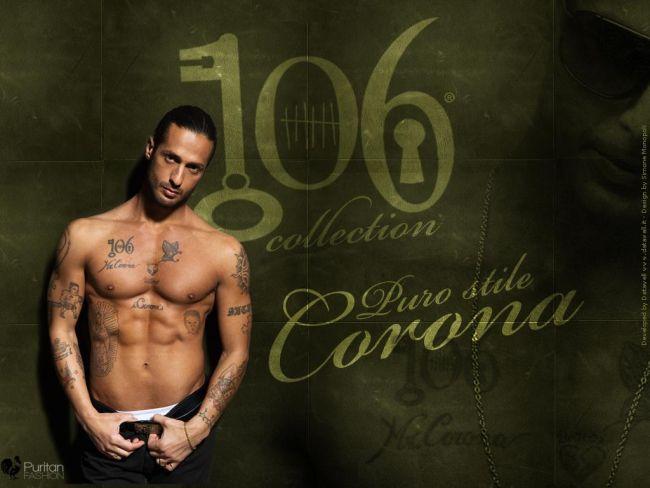 """Figura 2 - La nuova collezione di abbigliamento firmata """"Corona's"""", pubblicizzata senza indossare abbigliamento."""