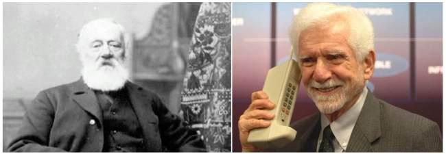 Figura 4 - A Sinistra Meucci, inventore del Telefono, a destra Cooper, inventore del Cellulare