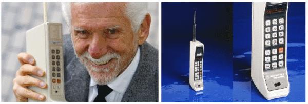 2 Martin Cooper ed il primo cellulare, nel 1973; a fianco il Motorola DynaTac del 1983