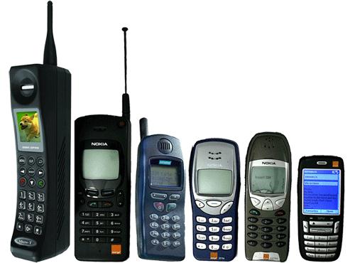 Figura 3 - Evoluzione delle dimensioni del cellulare nel tempo