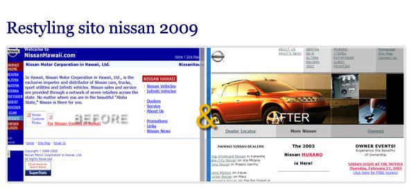 Restyling del sito della Nissan: il miglioramento estetico è evidente.