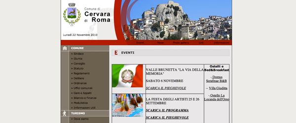 Il sito istituzionale del comune di Cervara usa un layout a tabelle e immagini molto pesanti.