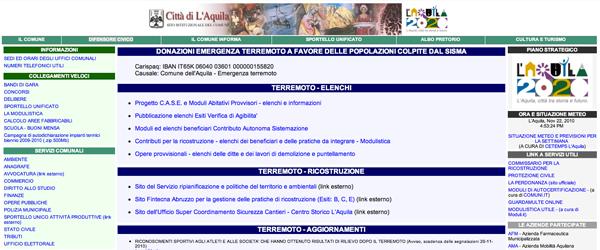 Il sito istituzionale del comune de L'aquila è strutturato con un layout tabellare