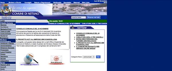 Il sito istituzionale del comune di Nettuno è sviluppato su un layout tabellare (oltretutto allineato a destra)