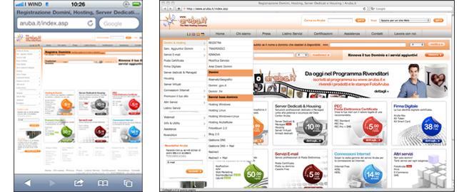 """iPhone è in grado di """"sistemare"""" il sito per ottimizzare la visualizzazione, ma l'impostazione di Aruba non lo permette."""