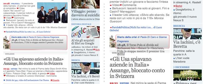 Alcuni elementi del layout di Corriere.it collassano quando si ingrandisce il carattere