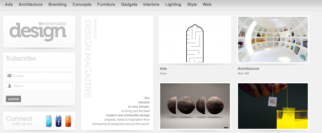 Minimalist Design è un sito a layout fluido: prova a ridimensionare la finestra