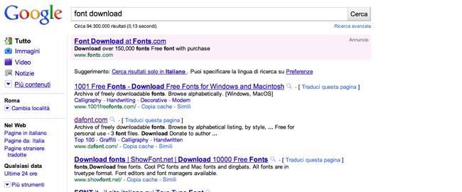 Google Serp per la ricerca font download