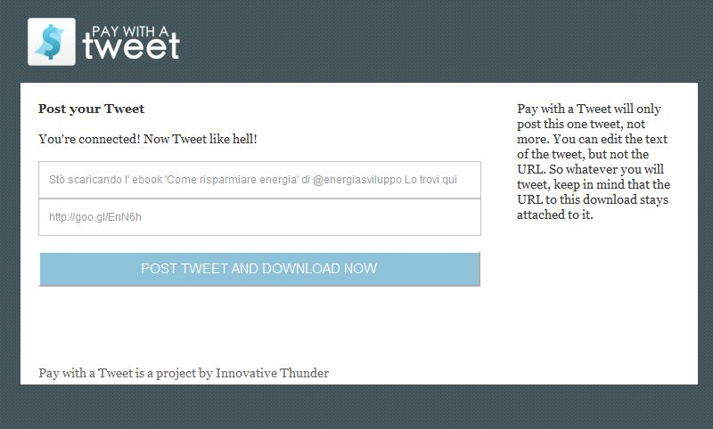 finestra download pay with a tweet