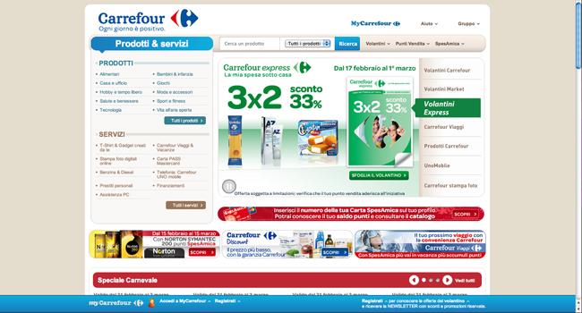 Homepage del sito di Carrefour