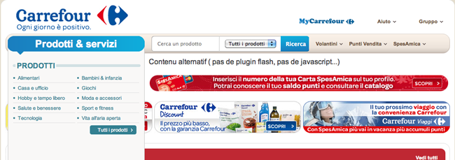 Sito del Carrefour senza Flash