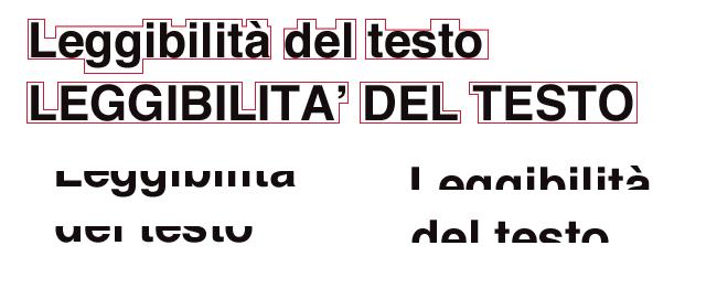 Confronto leggibilità del testo tra parte superiore e inferiore e tra alto e basso