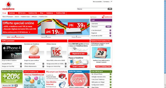 L'homepage di Vodafone