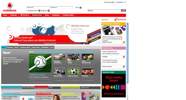 Il frame interno di Vodafone live! sembra un altro sito.