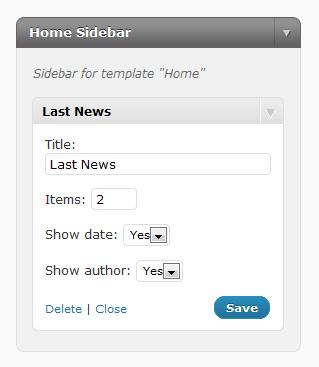 Figura 8 - Sidebar e Widget personalizzati per gestire l'home page.