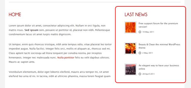 Figura 9 - Le ultime 3 news pubblicate sul sito sono mostrate in home page tramite il widget Last News che abbiamo trascinato.