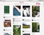 Pinterest schermata con categorie