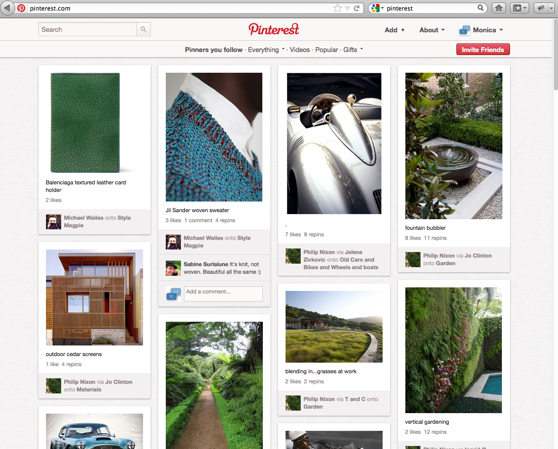 Pinterest schermata con categorie