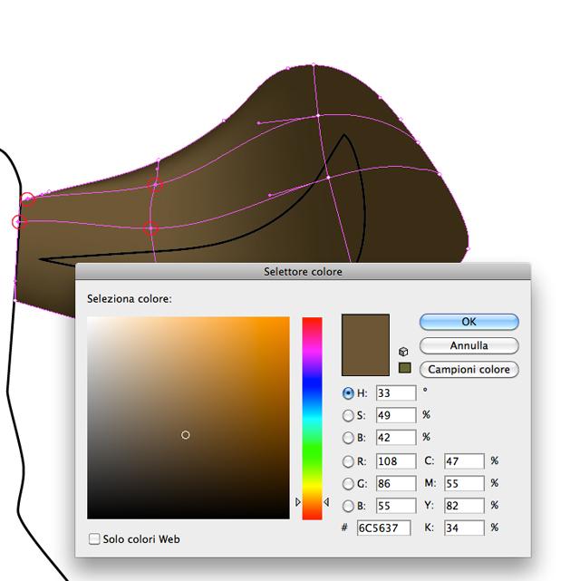 Colore orecchio destro