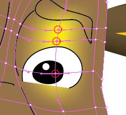 Modifica punti trama occhio destro