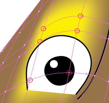 Modifica punti trama occhio sinistro