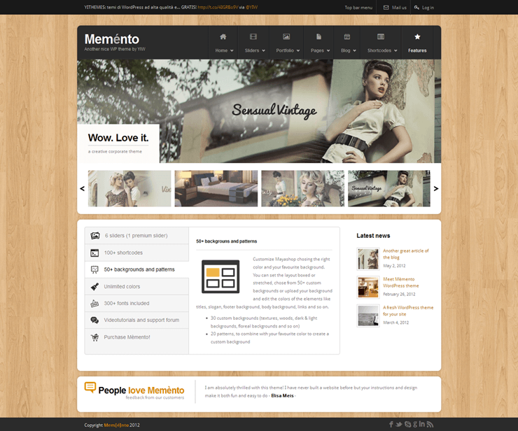 Template HTML FREE: Memento - Home 08