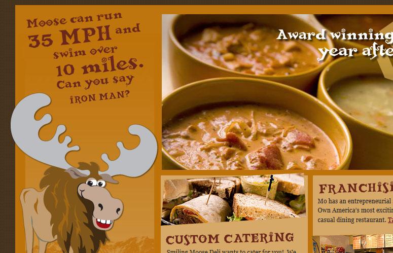 Un font gioco e stravagante nel sito del ristorante Smiling Moose di Deli