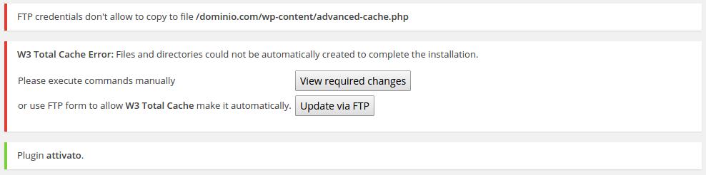 w3 total cache - prima attivazione