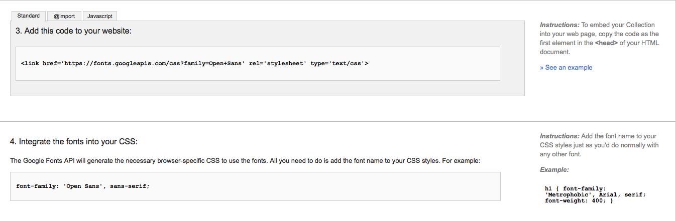 Istruzioni rapide Google Fonts