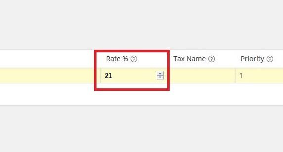 Percentuale tassazione 21%