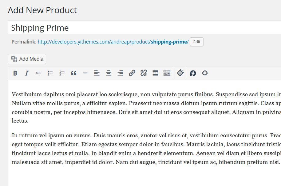 """Crea nuovo prodotto """"Shipping Prime"""""""
