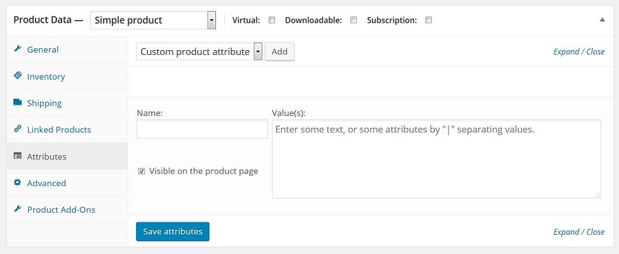 Aggiungi attributo prodotto personalizzato
