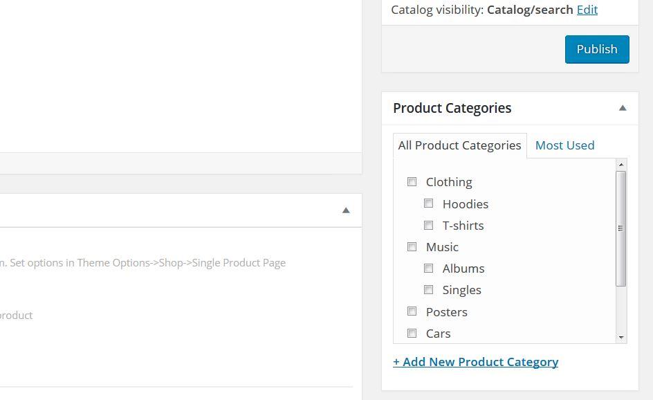 Aggiungi nuova categoria dalla pagina prodotto