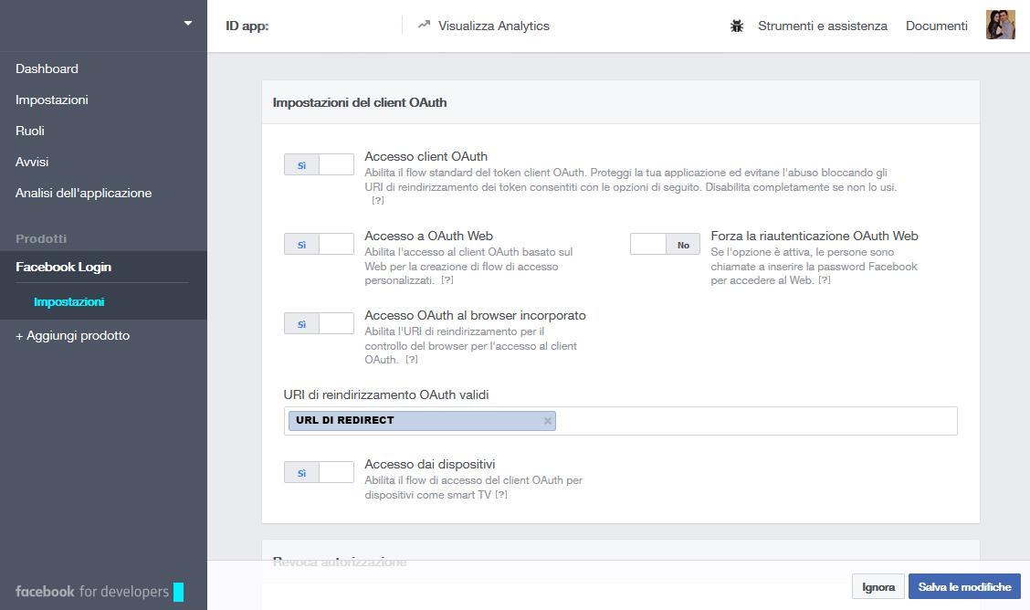 Configurazione login Facebook